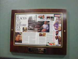 This is the framed article on the wall in Oklahoma Joes BBQ.