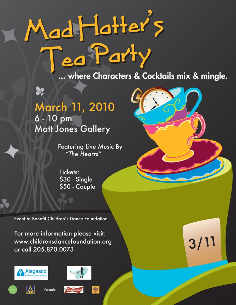 Childrens Dance Foundation Mad Hatter Tea Party Ad